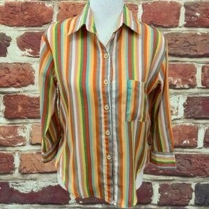 ANTHROPOLOGIE MAUDE MULTICOLOR STRIPED BLOUSE